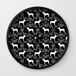 Pitbull floral silhouette pet portrait cute dog lover rescue dog lover pitbulls portrait dog breeds Wall Clock