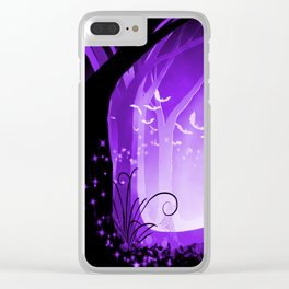 Dark Forest at Dawn in Amethyst Clear iPhone Case