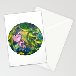 Flowers Of The Deep Mermaid - Circle Stationery Cards