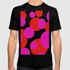 Pink and Red dots  Black Mens Fitted Tee MEDIUM