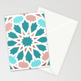 Geometric Arabic Pattern in Red Sea colors Stationery Cards