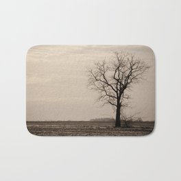 Lonely Tree in Black and White Rural Landscape Photograph Bath Mat