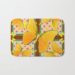 Yellow Butterflies Coffee Brown Pink & Blue Patterns Bath Mat