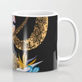 golden snake with flowers on black background Coffee Mug