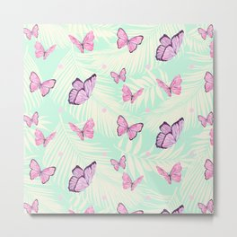 Watercolor pink butterflies Metal Print
