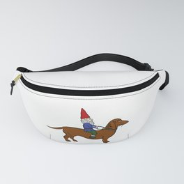 Gnome Riding a Dachshund Fanny Pack