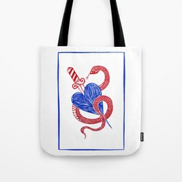 Evil Twin - Red and Blue heart dagger snake Tote Bag