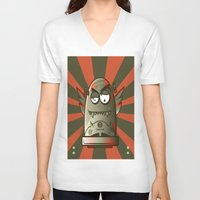 the fault V-neck T-shirts featuring Fault 45 01 (its not his fault) by Face Leakage