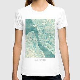 Liverpool Map Blue Vintage T-shirt