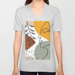 Abstract woman leaves face portrait background elements of tropical leaves and shapes fashion print Unisex V-Neck