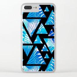Tropical modern blush pink blue geometrical floral Clear iPhone Case