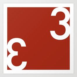 Threes - Red and White Modern Art Art Print