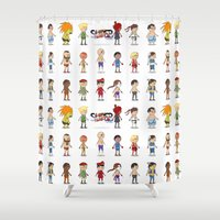 street fighter Shower Curtains featuring Super Street Fighter II Turbo by Glimy