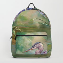 """Solitude"" - Pastel of Great Blue Heron Backpack"