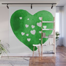 Green Hearts Wall Mural