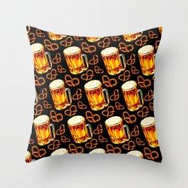 Beer & Pretzel Pattern - Black Throw Pillow
