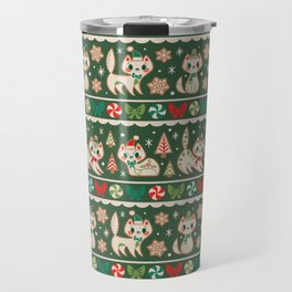 Striped Gingerbread Kitties (Green) Travel Mug