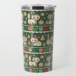 Striped Gingerbread Kitties (Green) Travel Mug