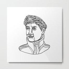 Emperor Wearing Laurel Leaf Mono Line Metal Print