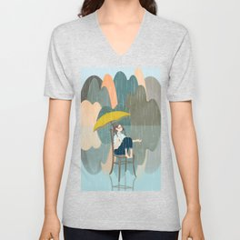 Lonely Girl In Rain Day Unisex V-Neck