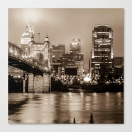 Cincinnati Ohio Skyline Cityscape in Sepia 1x1 Canvas Print