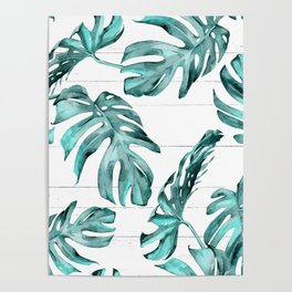 Turquoise Palm Leaves on White Wood Poster