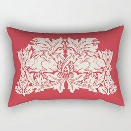 William Morris Style Victorian Christmas Bunnies Rectangular Pillow