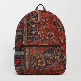 Persian Joshan Old Century Authentic Colorful Red Rusty Blue Vintage Rug Pattern Backpack