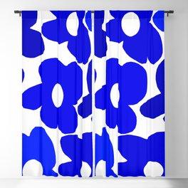 Large Blue Retro Flowers White Background Fresh Blue And White  #decor #society6 #buyart Blackout Curtain