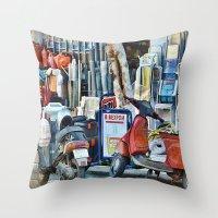 greek Throw Pillows featuring Greek Street by Teresa Pople