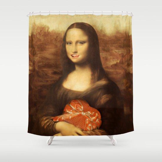 Mona lisa loves valentine 39 s candy shower curtain by for Mona lisa shower curtain
