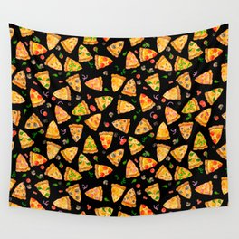 Watercolor Pizza Pattern Fast Food On Black Wall Tapestry