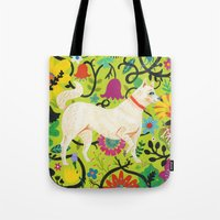 calendars Tote Bags featuring Spring Jindo Dog by Janna Morton