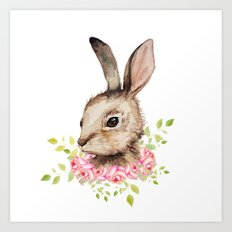 Easter bunny with flower wreath  Art Print
