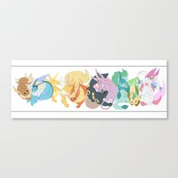 eevee Canvas Prints featuring Eevee evolutions by DapperDoom