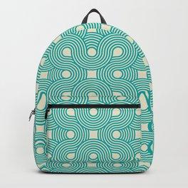 Teal & Cream Geometric Swirls Pattern Backpack