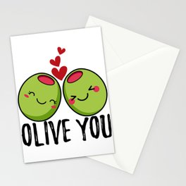 Olive You | I Love You | Valentine's Day Heart Stationery Cards