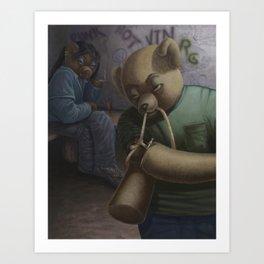 Drug Addict Teddy Art Print