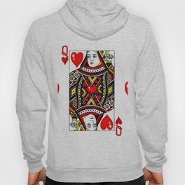 QUEEN  OF HEARTS SUIT CASINO PLAYING FACE CARD Hoody