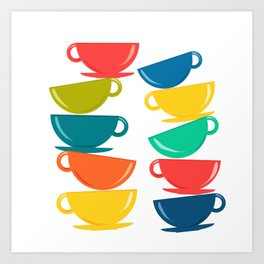 A Teetering Tower Of Colorful Tea Cups Art Print