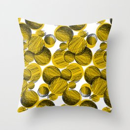 Squiggle Circle Repeat [yellow] Throw Pillow