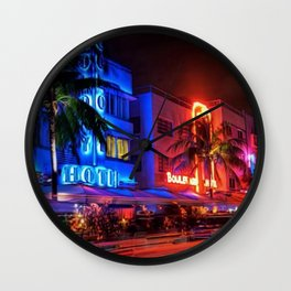 South Beach Miami Portrait in Colorful Time Lapse Paint by Jeanpaul Ferro Wall Clock