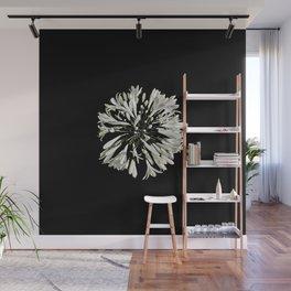 White Stylized Radial Flower Artwork Wall Mural