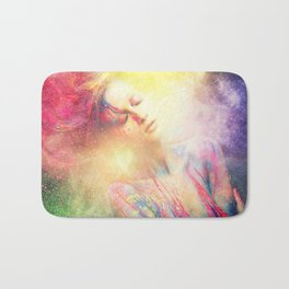 Young woman muse with creative body art and hairdo (2) Bath Mat