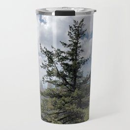 Gnarled Tree Against Blue Sky and Clouds, Beautiful Landscape of Old Tree Travel Mug