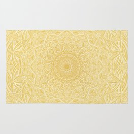 Most Detailed Mandala! Yellow Golden Color Intricate Detail Ethnic Mandalas Zentangle Maze Pattern Rug