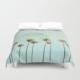 Full Moon Paradiese Beach Palm Trees Duvet Cover