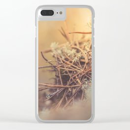 White reindeer moss photo Clear iPhone Case