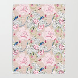 Watercolor Roses and Blush French Script Poster