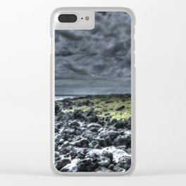 dark clouds and rock Clear iPhone Case